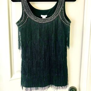 Black Fringed and Beaded too by Cache' size medium